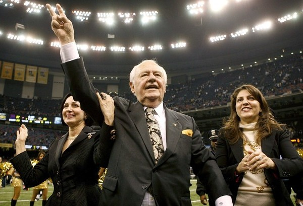 New Orleans Saints Owner Benson celebrates with his wife Gayle and granddaughter Rita Benson LeBlanc after his team defeated the New York Giants during their NFL football game at the Louisiana Superdome in New Orleans