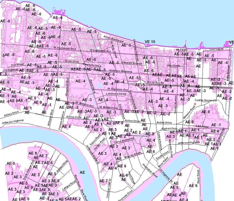 flood map new orleans New Jefferson Parish Flood Maps Take Effect Wgno flood map new orleans
