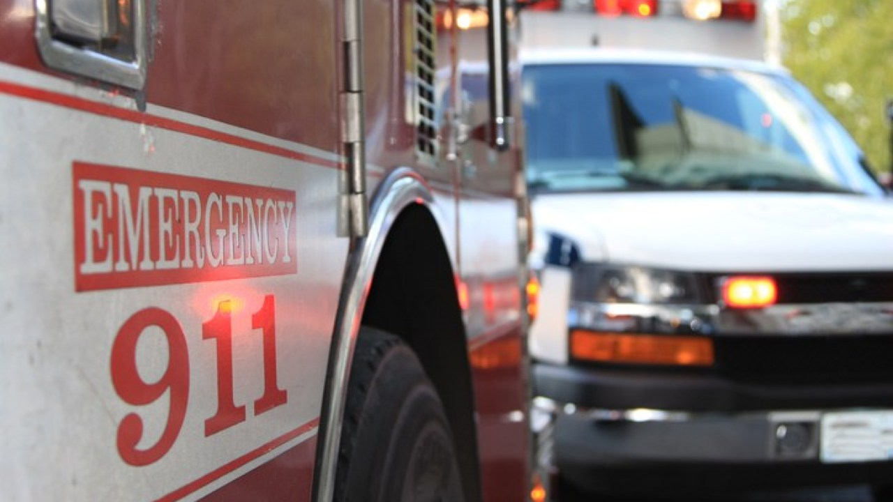 Fire engine and ambulance