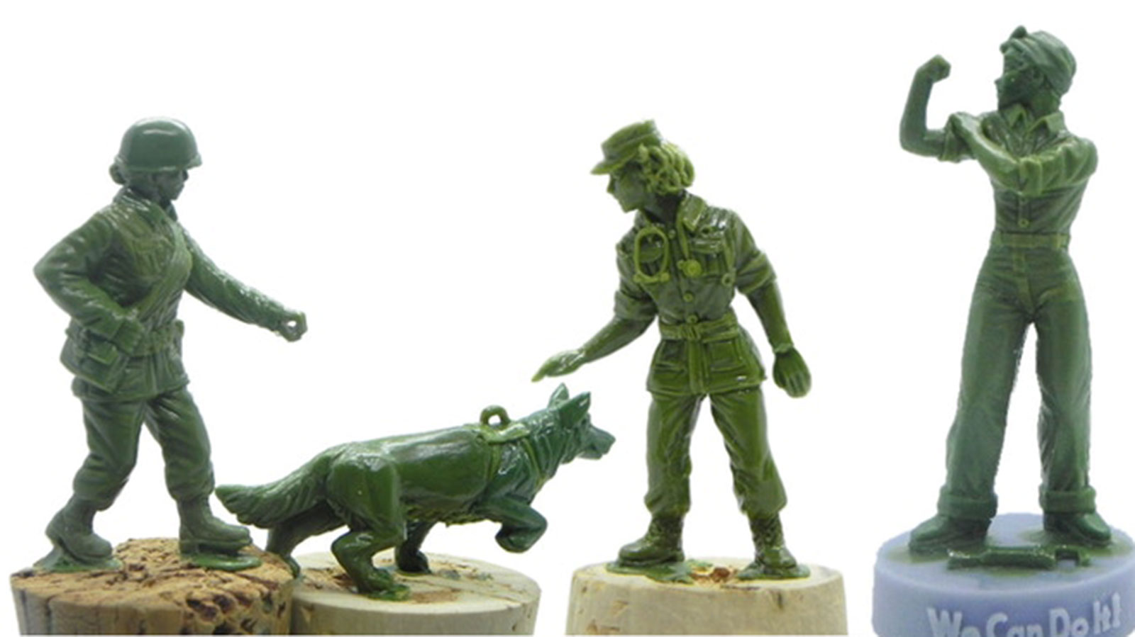 The new designs include a military dog and its handler. There's also a statuette of Rosie the Riveter.
