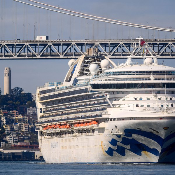 The Grand Princess docked in Oakland after days of being kept at sea due to concerns over coronavirus cases onboard. (Noah Berger/AP)