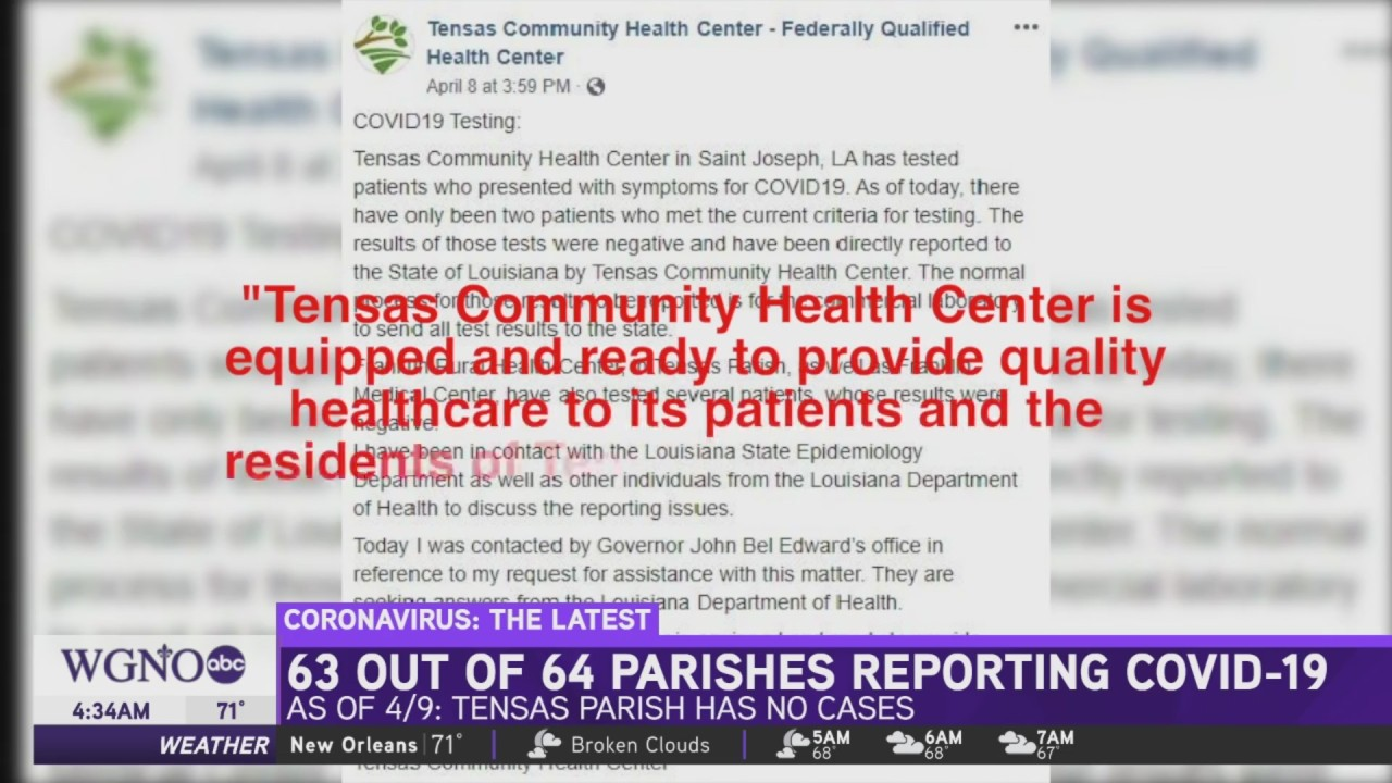 Only one parish in Louisiana has zero confirmed COVID-19 cases