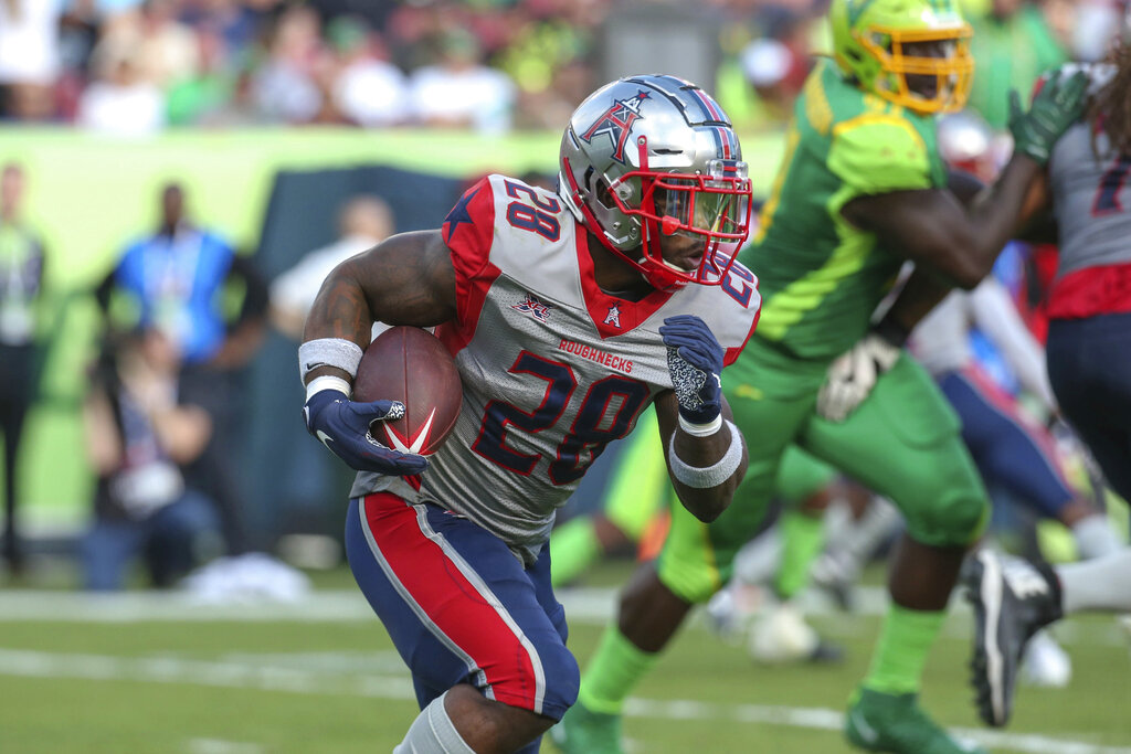 Houston Roughnecks running back James Butler runs with the ball during an XFL game against the Tampa Bay Vipers at Raymond James Stadium in February. The Roughnecks beat the Vipers 34-27. (Kim Hukari/Image of Sport via AP)