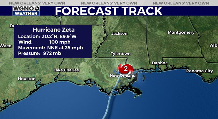 Hurricane Zeta still classified as a Cat 2, soon to exit Louisiana and enter Mississippi