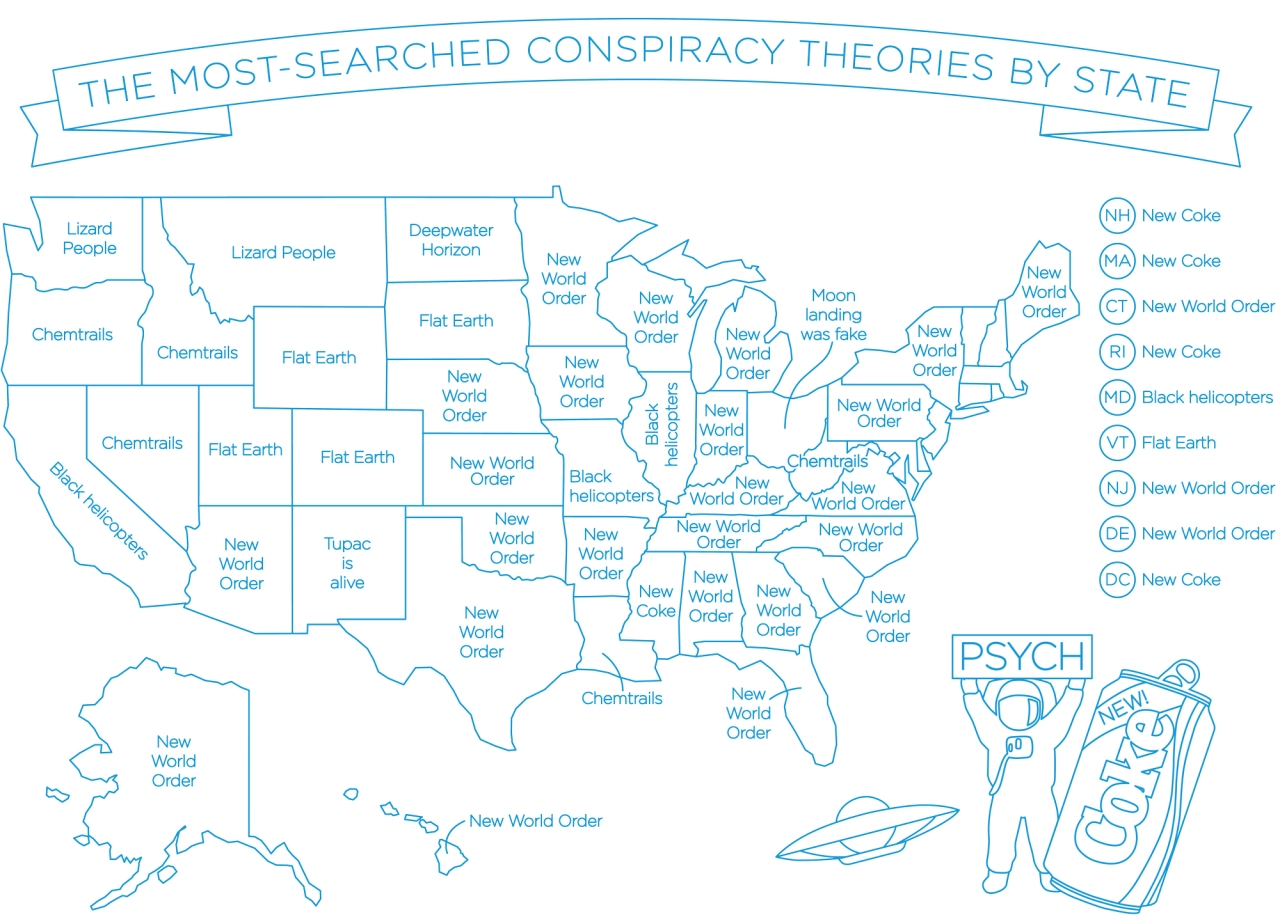 What's the most-searched conspiracy theory in your state?