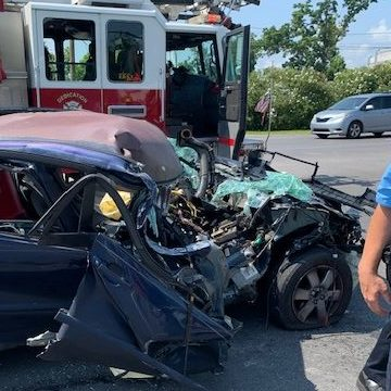 Collision with 18-wheeler leaves car unrecognizable