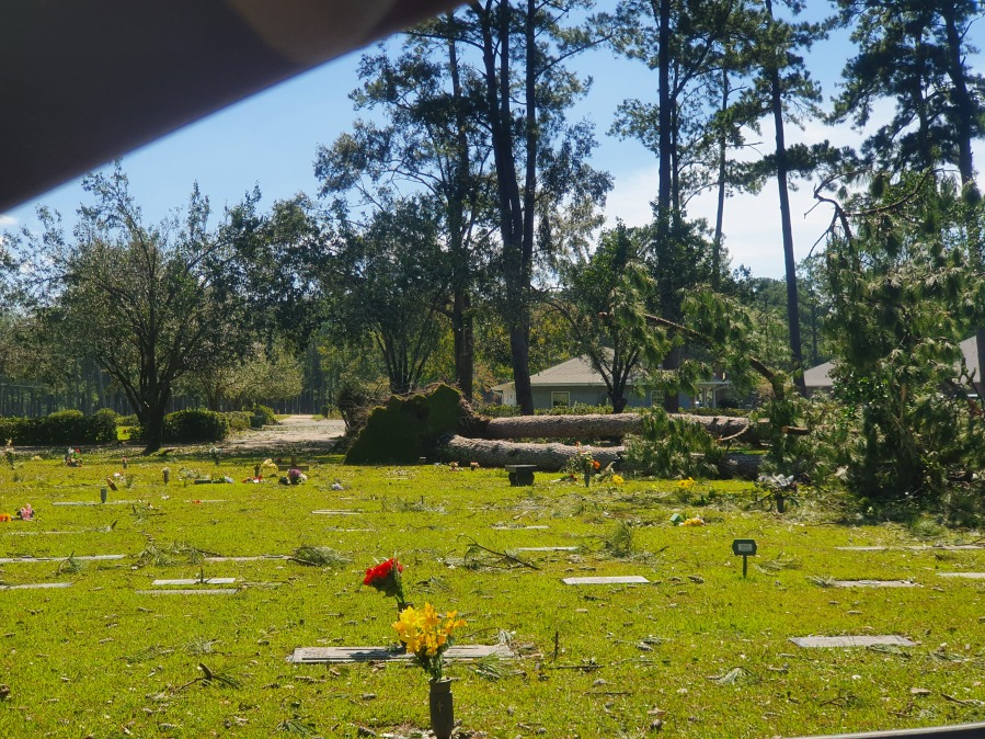 Tree down on cemetery in Covington; EJ Fielding & Sons Funeral Home