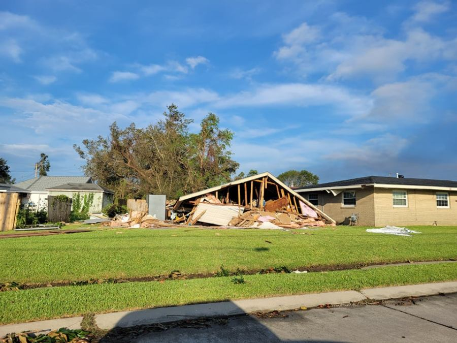 Shed of Metairie home leveled by Hurricane Ida
