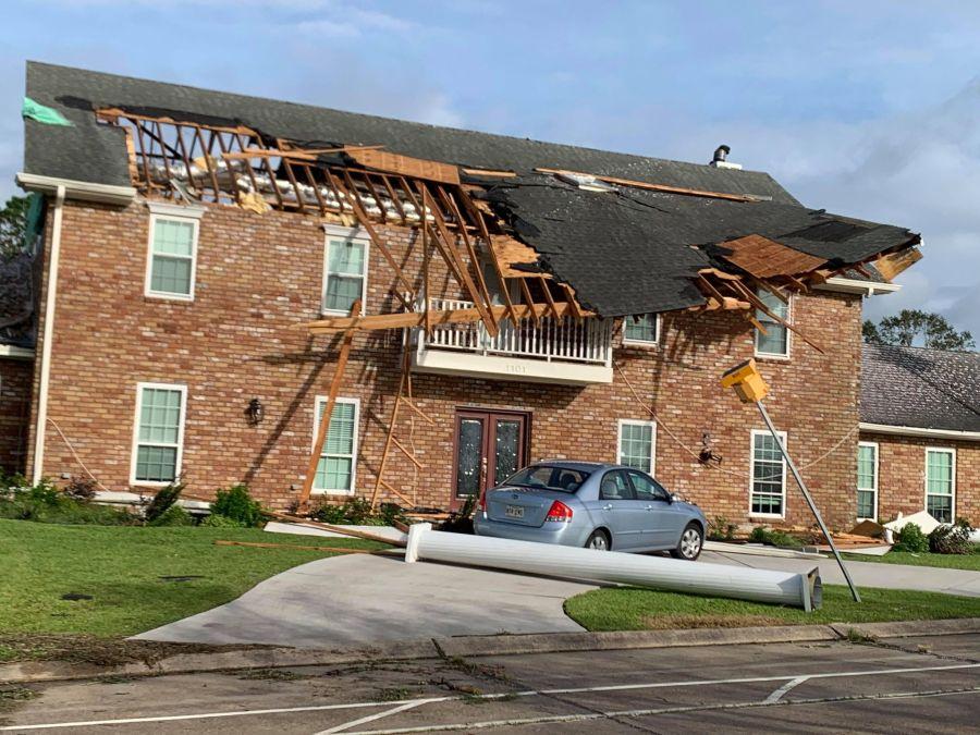 Home damaged by Hurricane Ida