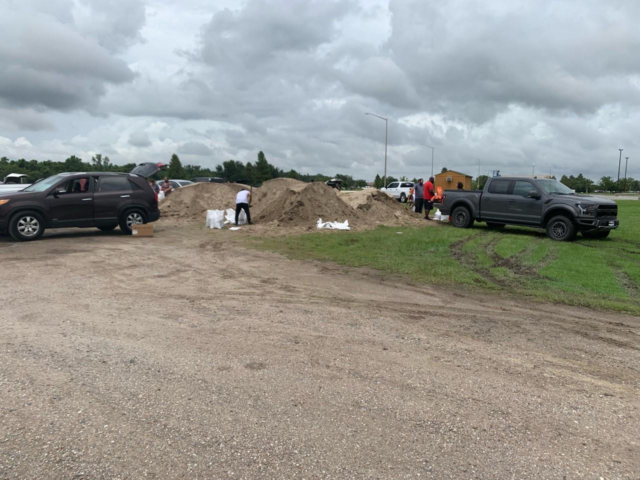 Filling sandbags in St. John Parish