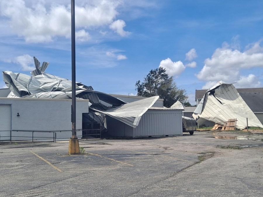 Sheet metal roof ripped away in St. Bernard