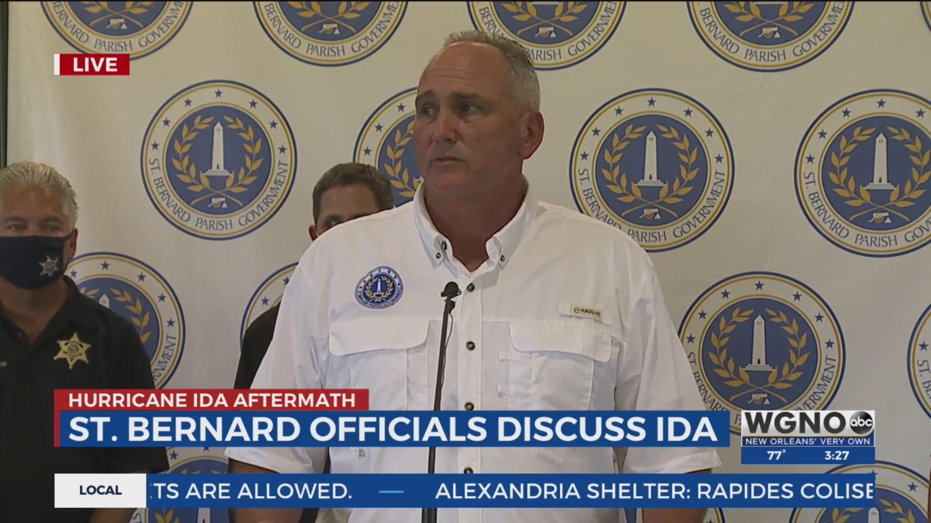 St. Bernard Parish officials give a post-hurricane update