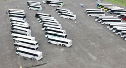 Hurricane Ida Evacuation buses lined up