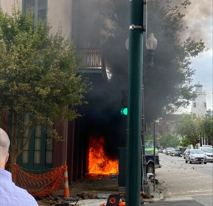 Truck engulfed in flames after crashing into NOLA business. Photo Courtesy: Richard Perque