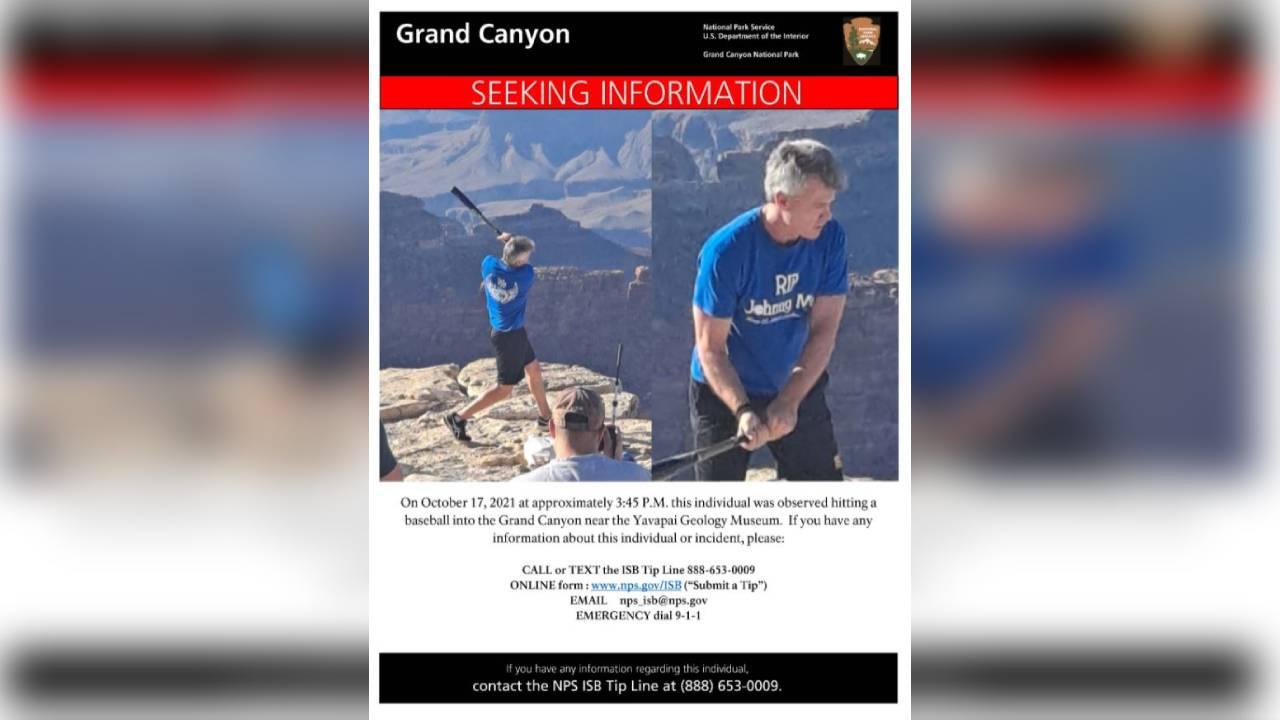 Man hitting baseballs into Grand Canyon identified by US Park Rangers